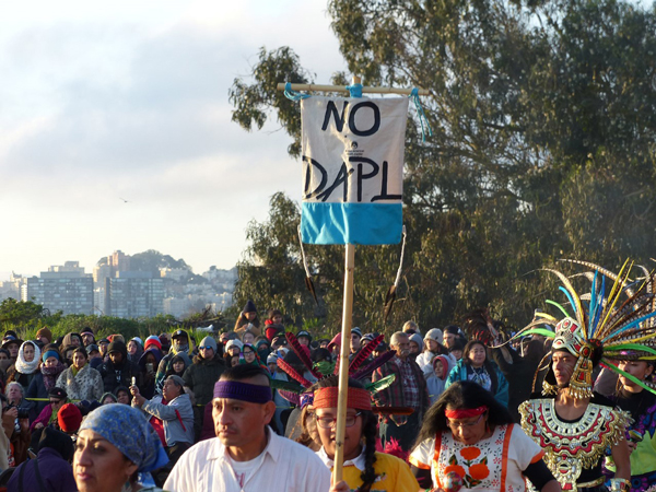 Some of the participants in the Indigenous People's Day celebration at Alcatraz showed solidarity with the struggle to stop the DAPL pipeline in North Dakota.