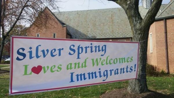 Banner in front of the Episcopal Church of Our Saviour in Silver Springs, Maryland, that replaced the one defaced by fascists
