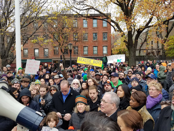 Rally at Adam Yauch Park in Brooklyn, NY, November 20