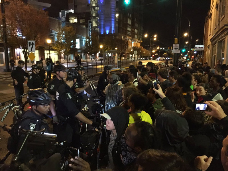 Charlotte, November 30, protesters gather outside police headquartetrs