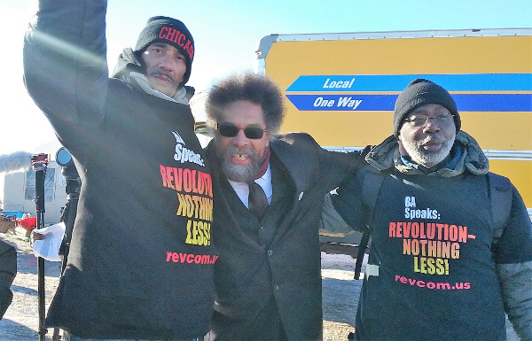Cornel West and Carl Dix with a member of the Revolution Club delegation at Standing Rock