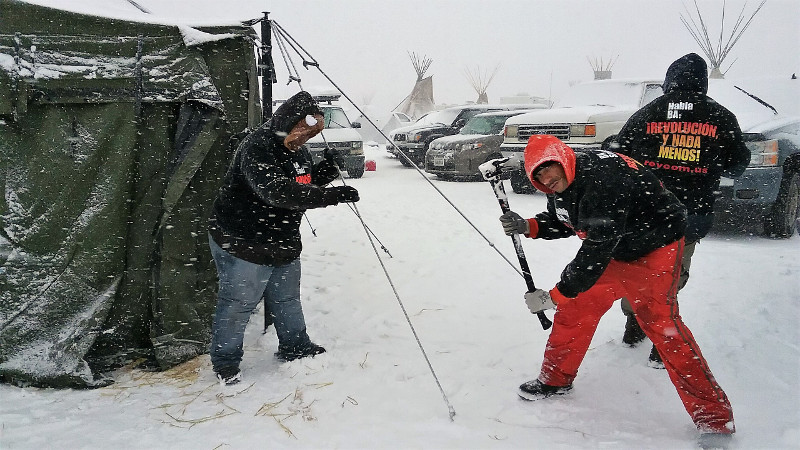 Pitching tent at Standing Rock, December 3