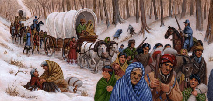 "In the winter of 1831, the Choctaw were force-marched from Mississippi, Florida, Alabama, and Louisiana to reservations in Oklahoma, some bound in chains and marched double file.  Thousands died along the way on this ""trail of tears."""