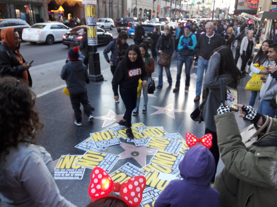 At the Trump star on Hollywood Blvd., Los Angeles, December 25