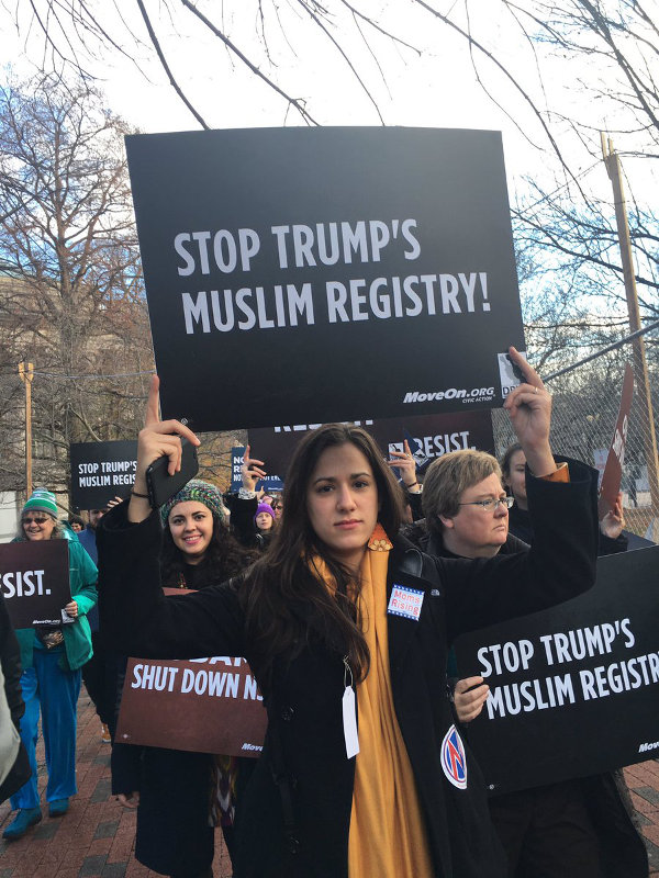 December 12 protest at the Justice Department in Washington D.C. against Trump's threatened registration of Muslims.