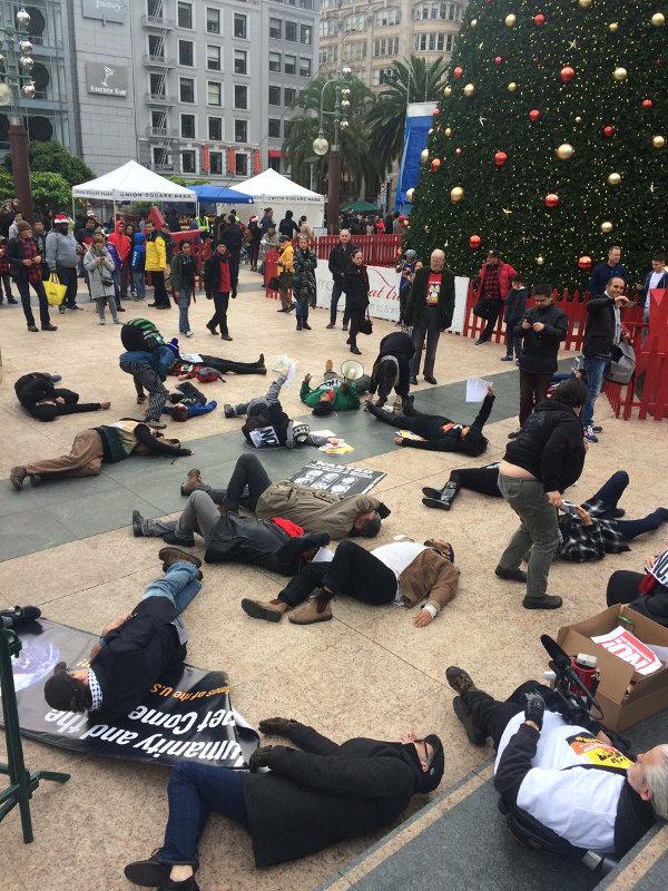 Die-in at Union Sq., San Francisco, December 25
