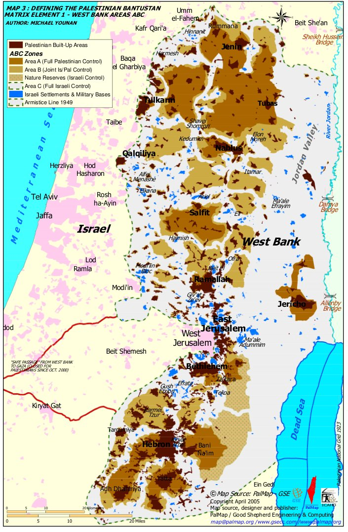 2005 map of West Bank of Palestine