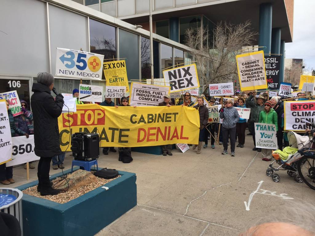 January 9, Santa Fe: #DayAgainstDenial protest outside the offices of the U.S. senators from New Mexico