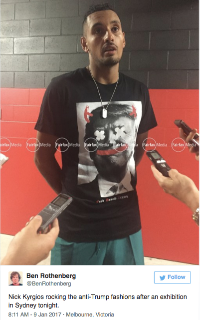 Nick Kyrgios wearing anti-Trump T-shirt