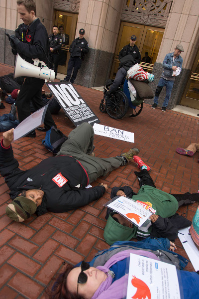 Die-in at Twitter HQ in San Francisco, January 7
