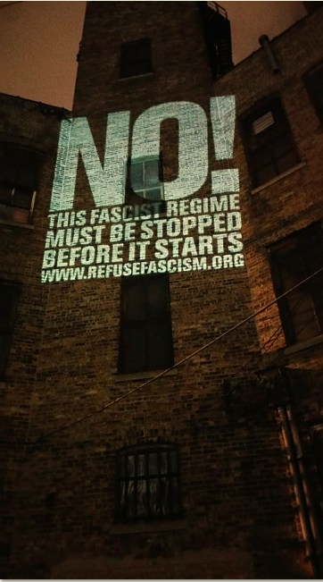 Wall of NO! in Chicago, near Obama's farewell speech