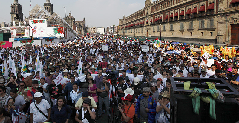 Protesters march against fuel price hikes in Mexico City, Saturday, January 7.