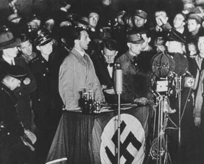 Joseph Goebbels, German propaganda minister, speaks on the night of book burning. Berlin, Germany, May 10, 1933.