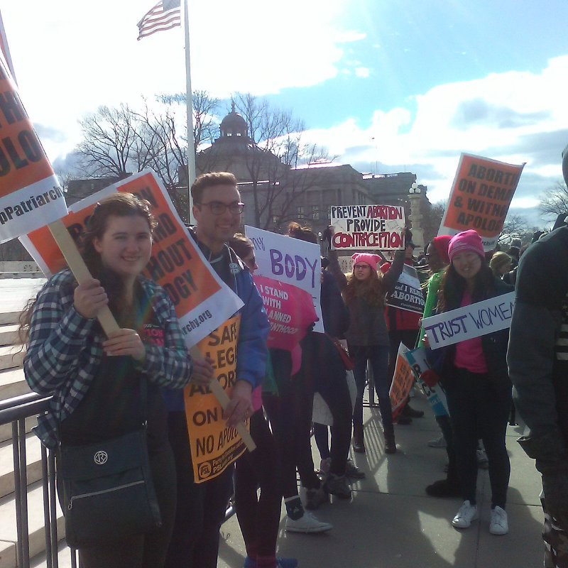 Stop Patriarchy, Georgetown University students, and others in front of the Supreme Court, January 27