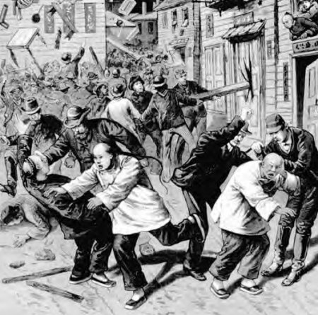 Newspaper illustration of the anti-Chinese rioting in Denver, Colorado, in 1880