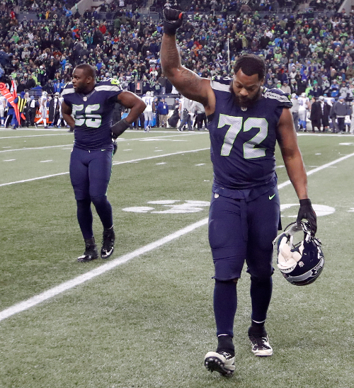 Michael Bennett (72) during a game against the Detroit Lions, January 7, 2017, in Seattle.