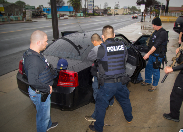 An arrest during an ICE raid in Los Angeles, February 7.
