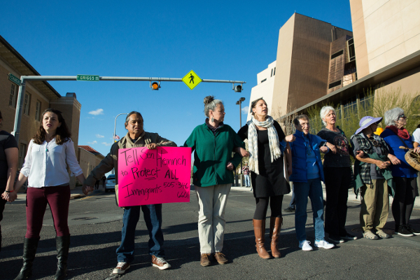 Blocking traffic in protest of ICE raids, Las Cruces, NM, February 15.