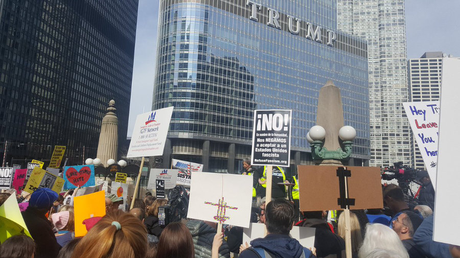 Chicago: Rally at Trump Tower.