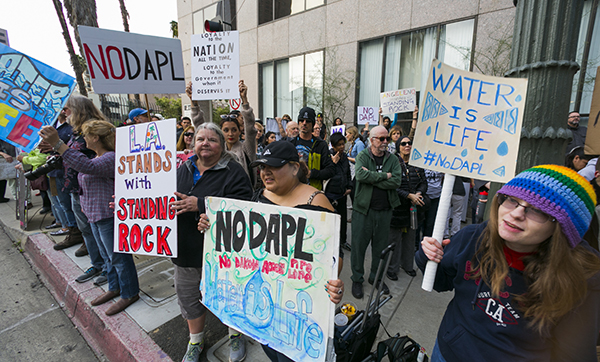 February 5 thousands of people gathered in downtown Los Angeles to say NO! to DAPL and to support Standing ROck.