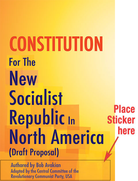 Sticker placement for cover of socialist constitution