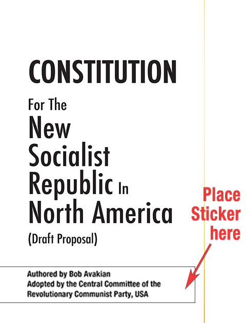 Sticker placement for title page of socialist constitution