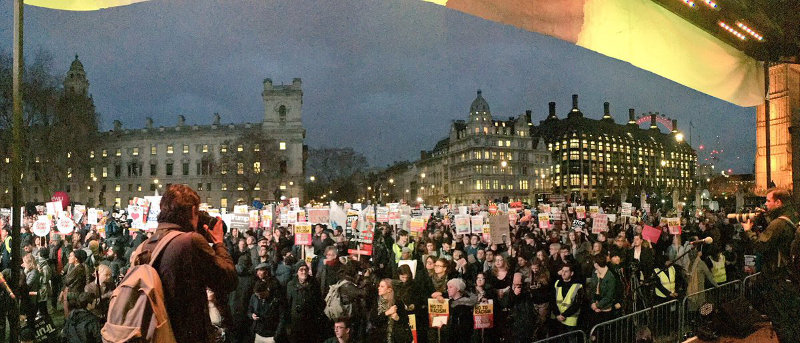 London, UK: Hundreds of thousands of protesters at the Parliament demand cancellation of Trump state visit.