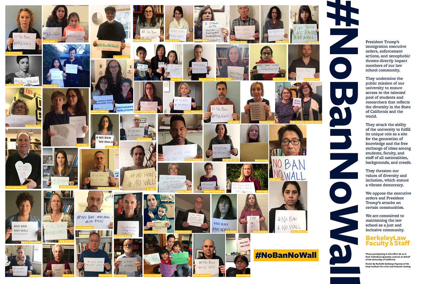 Poster of Berkeley Law Faculty & Staff: NoBanNoWall
