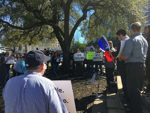 Professors Against SB4 rally in Houston, February 22.