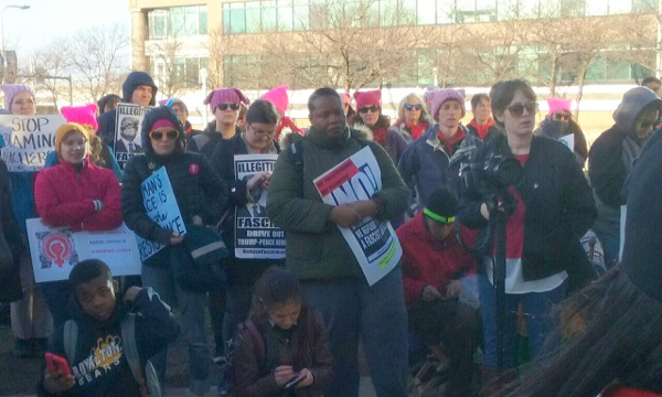 "In Cleveland, more than 200 people rallied and marched for IWD and Refuse Fascism, and the ""NO!"" message was in the mix with signs, fliers, stickers, and people signing up. Among the chants: ""No Pussy Grabbing! No Patriarchy! No Fascist USA!"""