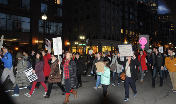 Several hundred demonstrators marched through downtown Boston on International Women's Day demanding an end to the Trump/Pence Regimes war on immigrants, his attacks on abortion rights and on the LGBTQIA community.