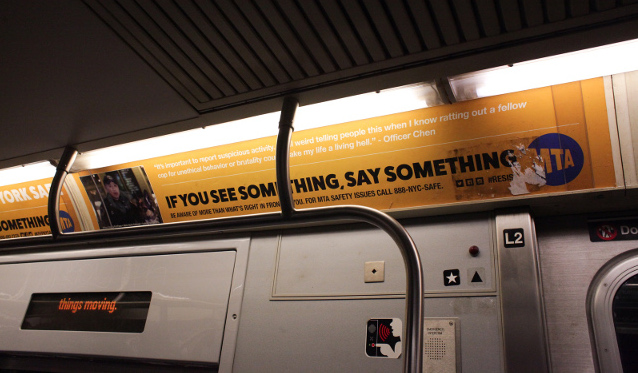 Artist's ad displayed in NYC subway car