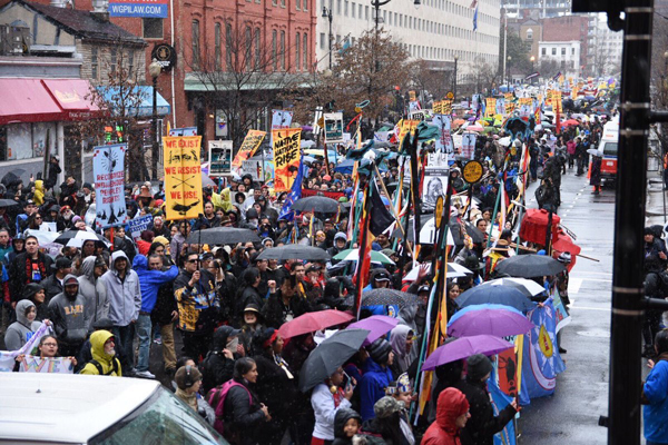 Protesters defied wind, rain and hail, and the fascist Trump regime.