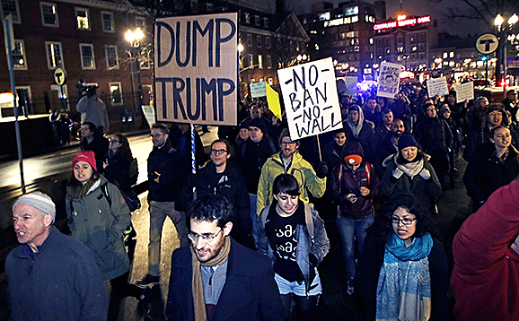 The Harvard Islamic Society, the Society of Arab Students and other student groups marched through Harvard Square, Cambridge, MA on March 7 to protest Trump's new travel ban.