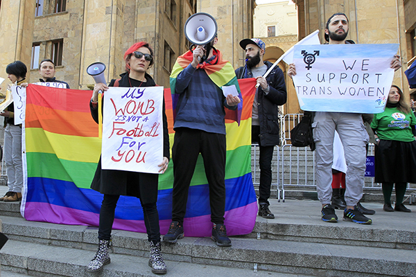 In Tbilisi, Georgia, demonstrators rallied in support of LGBQT rights and in defense of women's right to abortion. (Photo: AP)