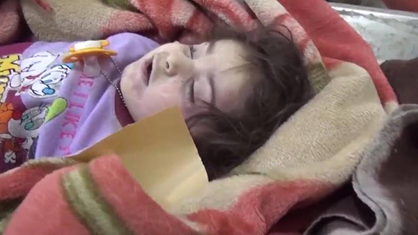 One of the many children killed in the U.S. air strikes on Mosul, Iraq.