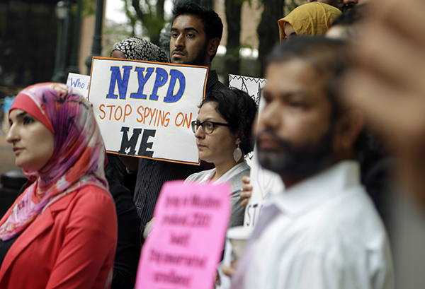 Protesting NYPD spying on Muslims, 2013