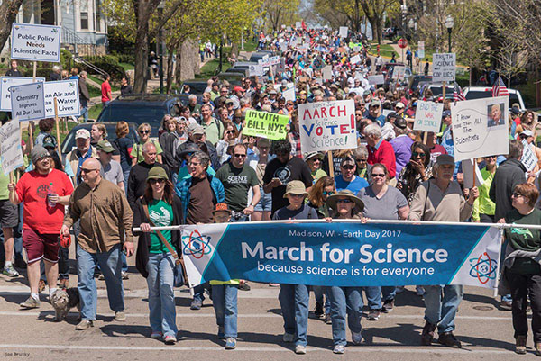Thousands march for science in Madison, WI.