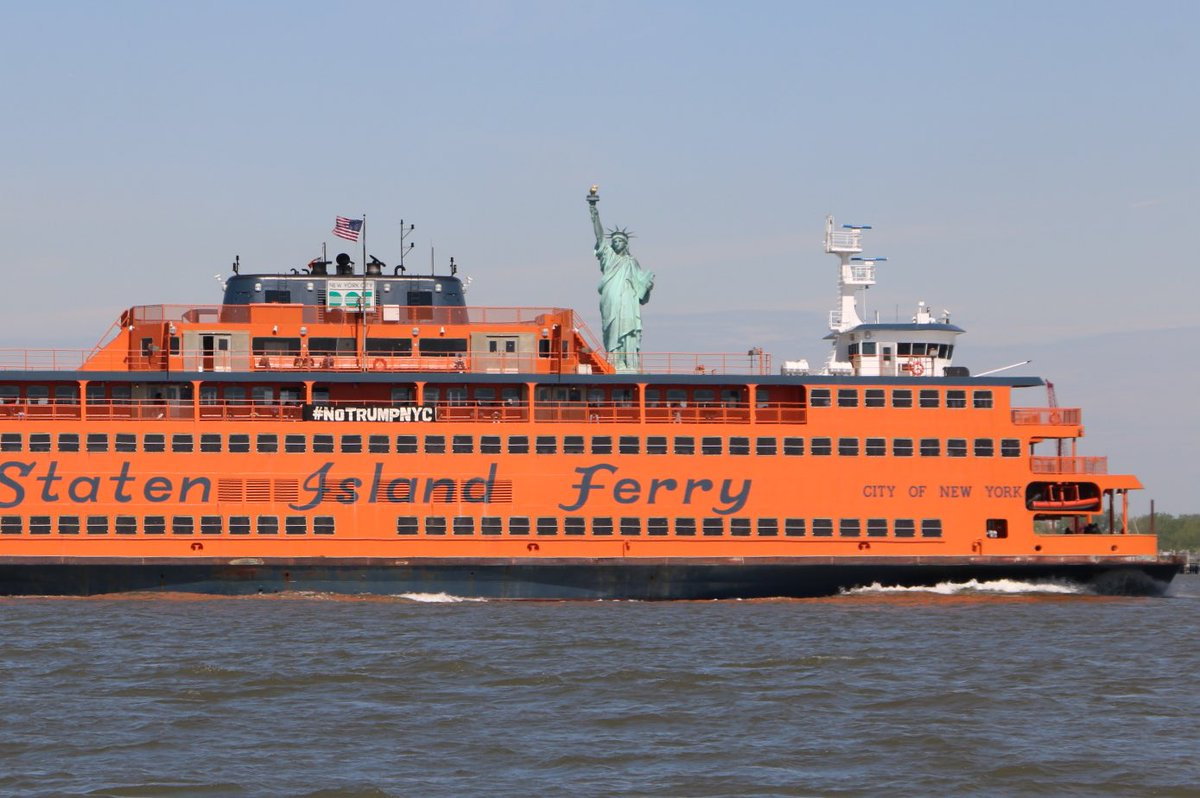 Staten Island Ferry with banner