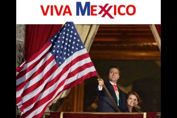 Image of Mexican President Enrique Peña Nieto and his wife, waving the U.S. flag.