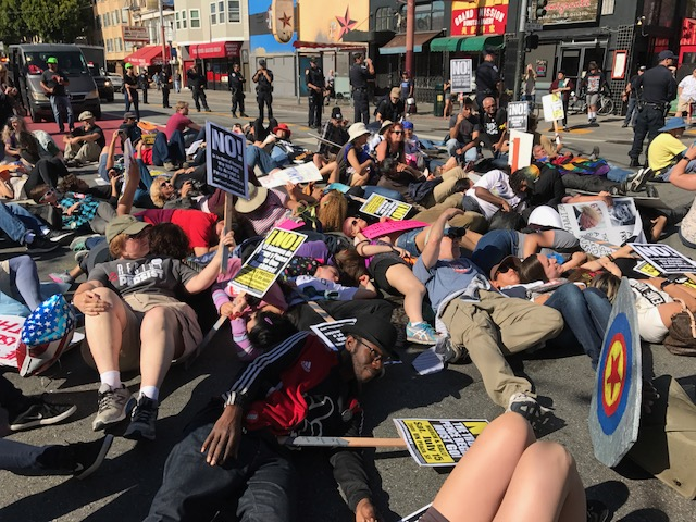 Die-in during San Francisco march, July 15
