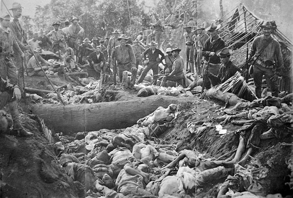 The bodies of Moro insurgents and civilians killed by U.S. troops during the Battle of Bud Dajo in the Philippines, March 7, 1906