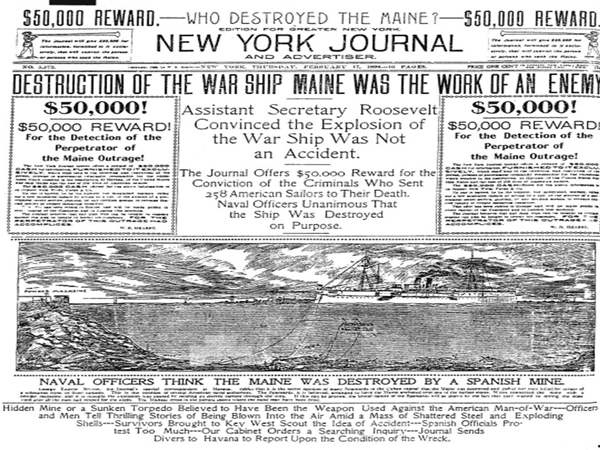 Headlines in the New York Journal when the U.S. warship Maine blew up in Havana harbor.