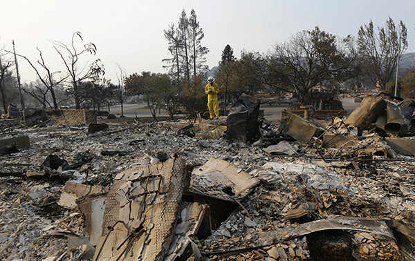 fires obliterated this neighborhood in Santa Rosa, CA