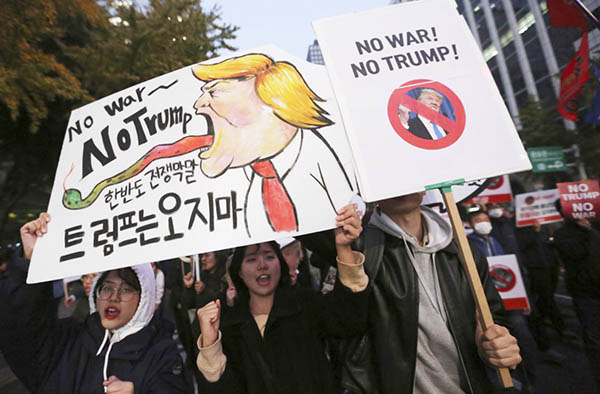 South Koreans Protest Trump, November 5, 2017