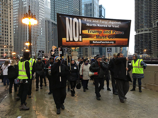 Chicago march begins with lead banner