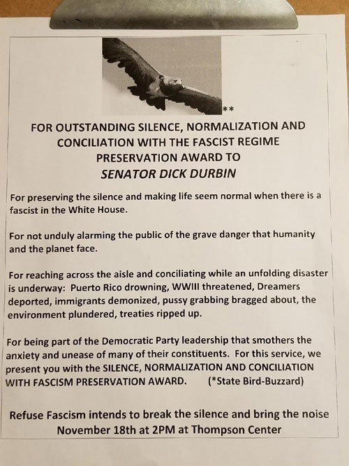 Preservation award that was presented to Dick Durbin