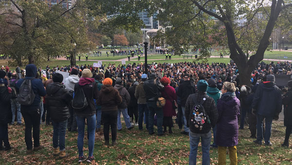 Counter-protest against white supremacists in Boston, Nov 18, 2017