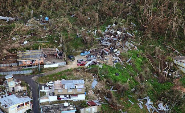 Aerial view of devastation in Puerto Rico.