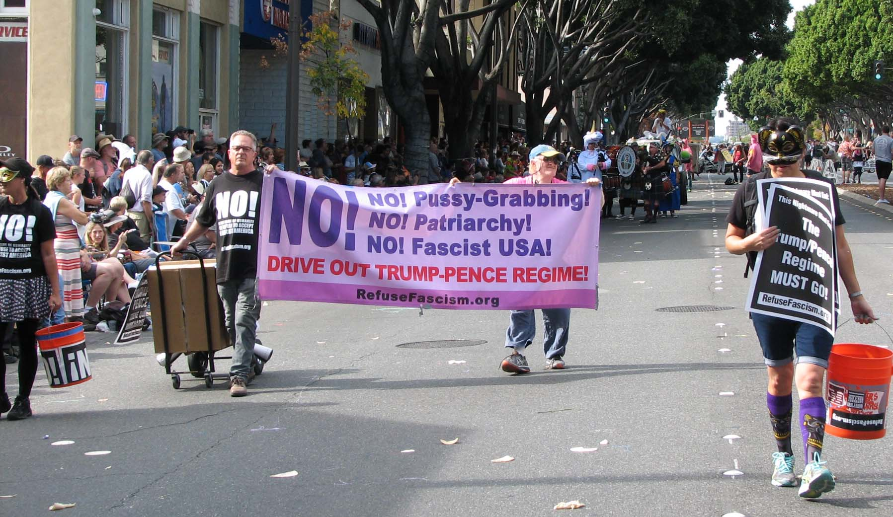 Refuse Fascism at DooDah parade in Pasadena